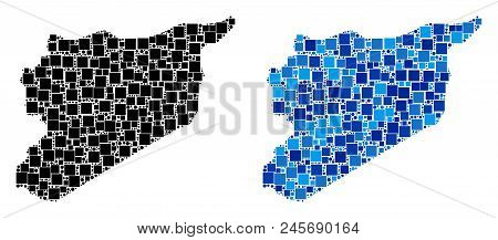 Dotted Syria Map Versions. Abstract Geographic Map Version Done With Cold Blue Color Shades. Vector