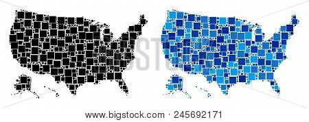 Dotted Usa With Alaska Map Variants. Abstract Geographic Map Version Done With Cold Blue Color Tones