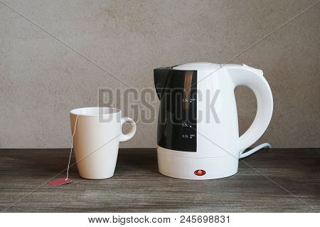 Tea Making Facilities With Electric Water Kettle, Teacup And Teabag