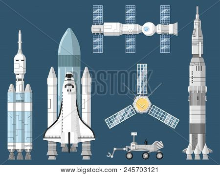 Astronautics And Space Technology Isolated Set. Space Shuttle, Cosmic Rocket, Spaceship, Orbital Sat
