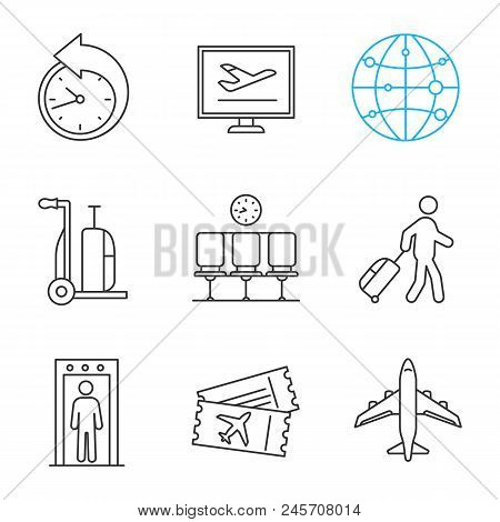 Airport Linear Icons Set. Reschedule, Online Booking, Route, Baggage Cart, Waiting Hall, Passenger,