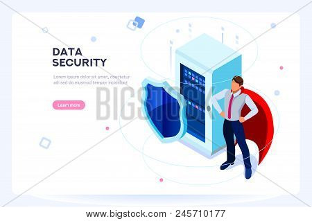 Secure Hard Data Base. Security And Anti-virus Protection. Center Or Datacenter Network. Industry Of