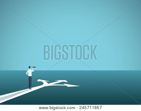 Business Or Career Decision Vector Concept. Businesswoman Standing At Crossroads. Symbol Of Challeng