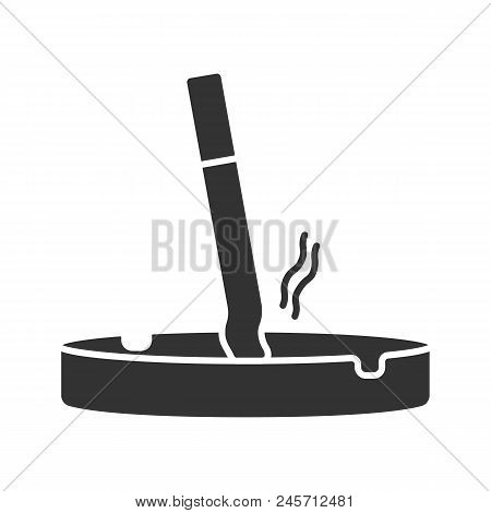 Ashtray With Stubbed Out Cigarette Glyph Icon. Stop Smoking. Silhouette Symbol. Negative Space. Vect