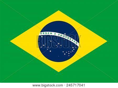 The National Flag Of Brasil. Vector Pattern, Banner Of Brasil. Flat Standard, Design Element For Pri