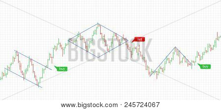 Bar Financial Data Graph. Forex Stock Crypto Currency Trading Pattern. Indicator For Financial Trade