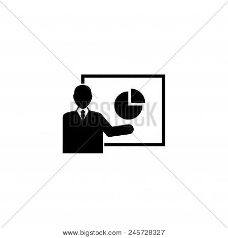 Financial Presentation. Flat Vector Icon Illustration. Simple Black Symbol On White Background. Fina
