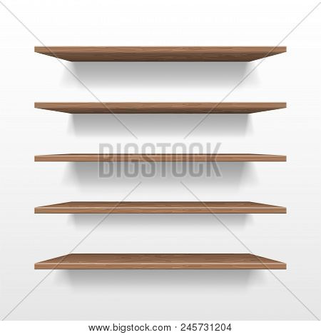 Empty Wooden Shop Or Exhibition Shelf, Retail Shelves Mockup Isolated. Realistic Wooden Bookshelf Wi