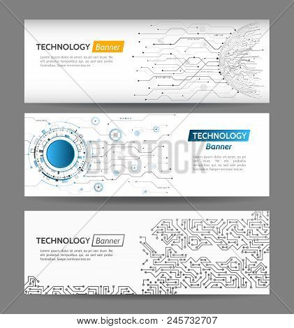 Abstract Global Technology Web Banner Concept. Digital Internet Communication Web Design. Connection