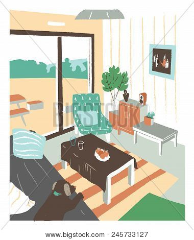 Stylish Interior Of Living Room Or Salon Full Of Cozy Furniture And Home Decorations - Sofa, Coffee