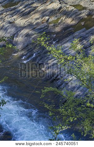 Rapids And Rocky Shoreline Of Mountain Fork River, Southeast Oklahoma
