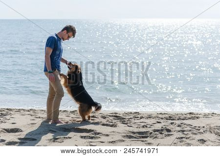 Young Caucasian Boy Playing With Dog On Beach. Man And Dog Having Fun On Seaside