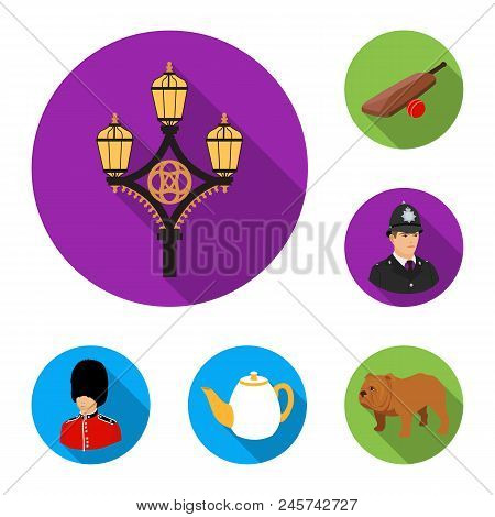 England Country Flat Icons In Set Collection For Design.travel And Attractions Vector Symbol Stock