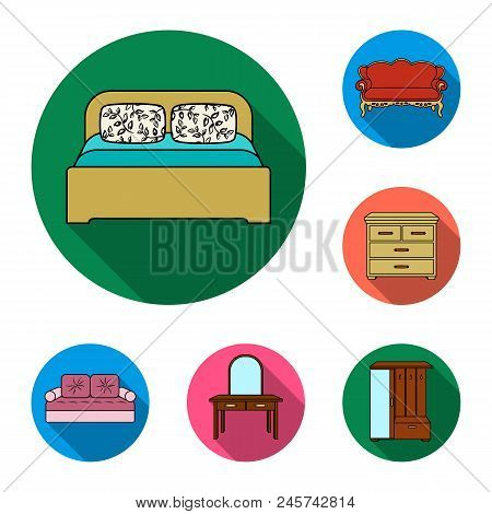 Furniture And Interior Flat Icons In Set Collection For Design.home Furniture Vector Symbol Stock  I
