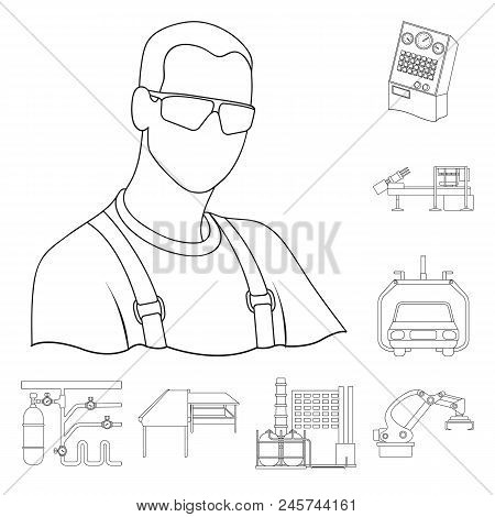 Equipment And Machine Outline Icons In Set Collection For Design.technical Progress Of The Factory V