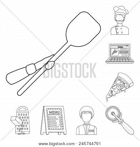Pizza And Pizzeria Outline Icons In Set Collection For Design. Staff And Equipment Vector Symbol Sto