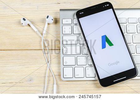 Sankt-petersburg, Russia, June 2, 2018: Google Adwords Application Icon On Apple Iphone X Screen Clo