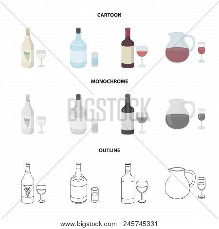 White Wine, Red Wine, Gin, Sangria.alcohol Set Collection Icons In Cartoon, Outline, Monochrome Styl