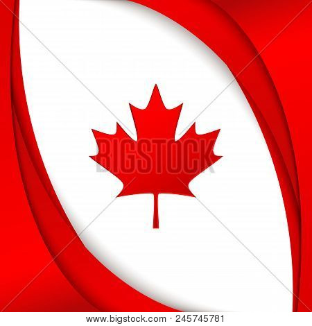 Canada Flag National Patriotic Symbol Of Canada Wavy Red Satin Lines And A Maple Leaf On A White Bac