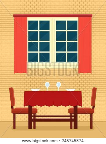 Kitchen Interior With Laid Table And Romantic Setting. Romantic Interior For Restaurant Or Cozy Kitc