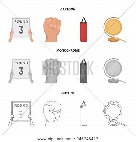 Boxing, Sport, Round, Hand .boxing Set Collection Icons In Cartoon, Outline, Monochrome Style Vector