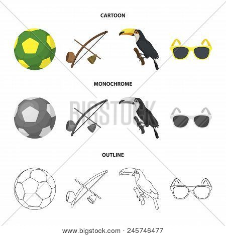 Brazil, Country, Ball, Football . Brazil Country Set Collection Icons In Cartoon, Outline, Monochrom