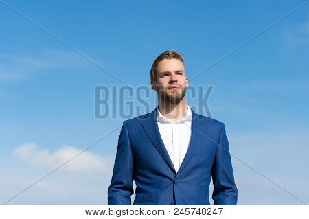 Businessman Successful Entrepreneur In Suit Walks Outdoor Sunny Day, Sky Background. Man Confident A