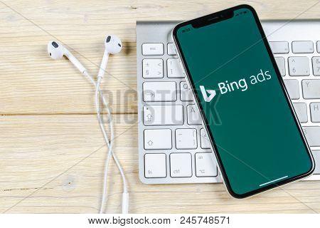 Sankt-petersburg, Russia, June 2, 2018: Bing Application Icon On Apple Iphone X Screen Close-up. Bin