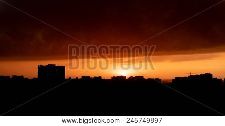 Sunset Over The City Of Kiev. Summer.