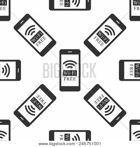 Smartphone With Free Wi-fi Wireless Connection Icon Seamless Pattern On White Background. Wireless T