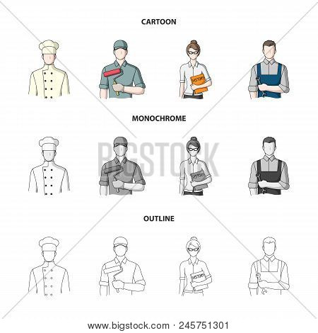 Cook, Painter, Teacher, Locksmith Mechanic.profession Set Collection Icons In Cartoon, Outline, Mono