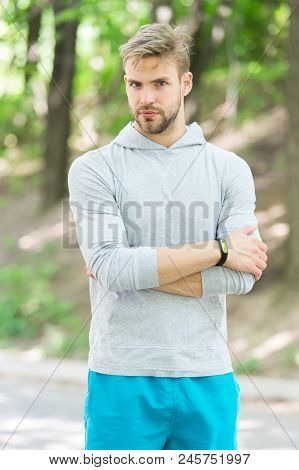 Confident Sportsman. Runner Workout Outdoor In Park. Man Athlete With Smart Watch Running Outdoor, N