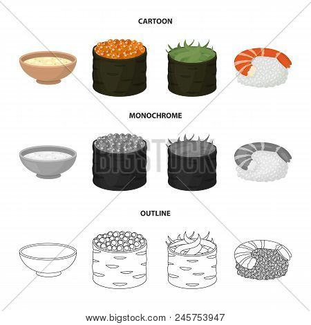 Bowl Of Soup, Caviar, Shrimp With Rice. Sushi Set Collection Icons In Cartoon, Outline, Monochrome S