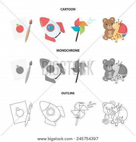 Children's Toy Cartoon,outline,monochrome Icons In Set Collection For Design. Game And Bauble Vector