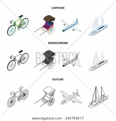Bicycle, Rickshaw, Plane, Yacht.transport Set Collection Icons In Cartoon, Outline, Monochrome Style