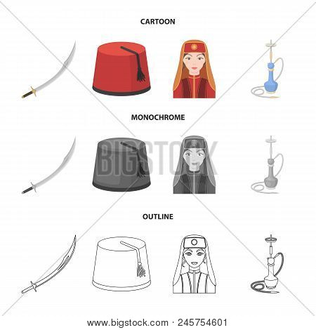 Turkish Fez, Yatogan, Turkish, Hookah.turkey Set Collection Icons In Cartoon, Outline, Monochrome St