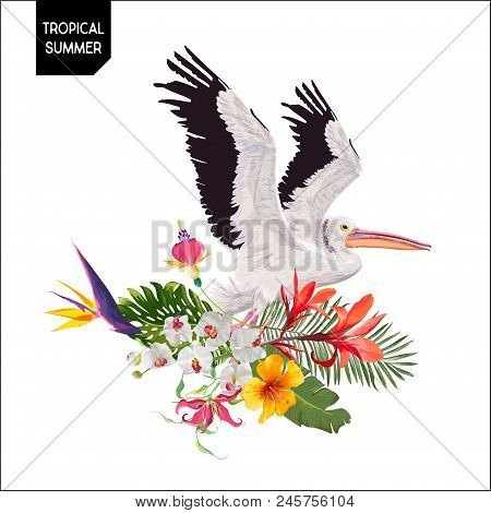 Tropical Summer Design with Flying Pelican Bird and Exotic Flowers. Waterbird with Tropic Plants and Palm Leaves for T-shirt, Print. Vector illustration poster