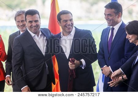 Greek Prime Minister Alexis Tsipras And His Macedonian Counterpart Zoran Zaev
