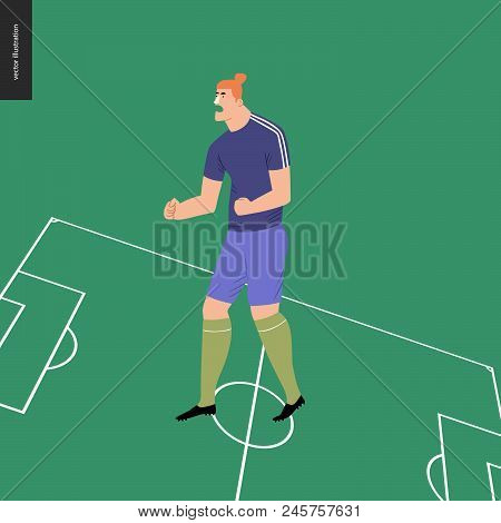 European Football, Soccer Player - Flat Vector Illustration Of A Soccer Player Winning A Victory - S