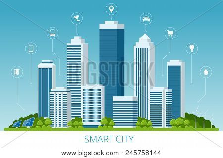 Flat Vector Smart City And Communication Network. Wifi, Internet, Communication, Travel, Computer An