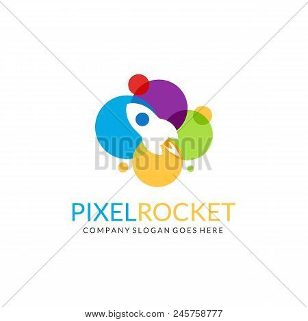 Pixel Rocket Logo. Multicolored Rocket Logotype. Easy To Edit, Change Size, Color And Text.