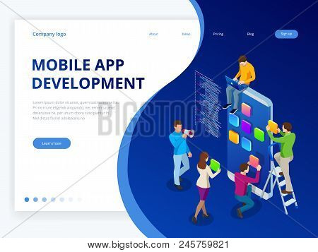 Isometric Web Banner Mobile App Development Concept. Mobile Technology Operating System Creative Pro