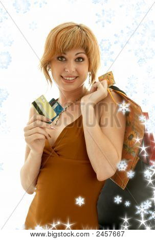 Consumer Girl With Snowflakes