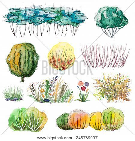 Watercolor Hand Drawn Set Of Isolated Landscape Design Elements, Orange, Yellow Shrubs, Bushes, Flow