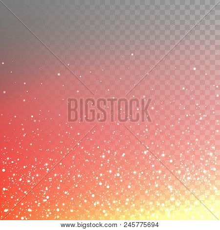 Stock Vector Illustration Numerous Fiery Sparks, Sparkles, Lights Isolated On A Transparent Checkere