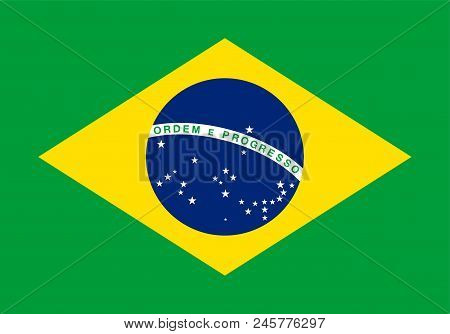 National Flag Of Brazil. Ensign Of Federative Republic Of Brazil. A Auriverde, Blue Disc With Starry
