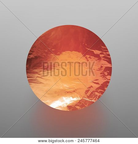 Stock Vector Illustration Shiny, Sparkly Copper Leaf Circle. Metal Foil Texture Isolated On Gray Bac