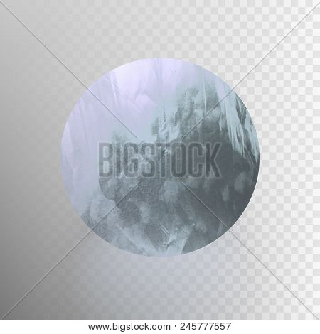 Stock Vector Illustration Shiny, Sparkly Aluminum Leaf Circle. Metal Foil Texture Isolated On A Tran