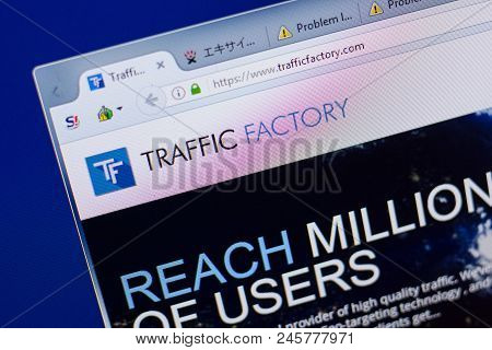 Ryazan, Russia - June 16, 2018: Homepage Of Trafficfactory Website On The Display Of Pc, Url - Traff