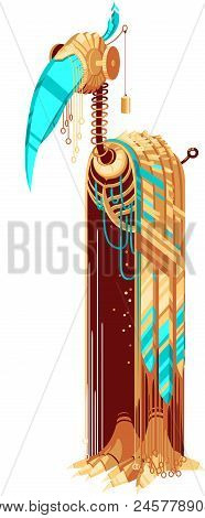 Robot-bird With Yellow And Turquoise Feathers And Beak. Tall Bird Robot. Exotic Bird For A Mascot. R